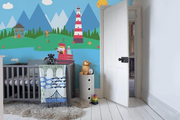 Papier peint chambre enfant Bateaux