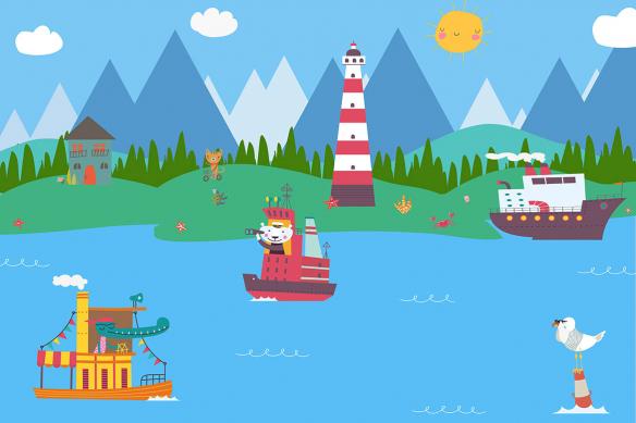 papier-peint-panoramique-enfant-bateaux