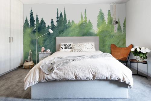 papier-peint-panoramique-foret-aquarelle