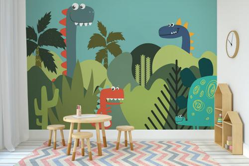 décoration-creche-papier-peint-dinosaures