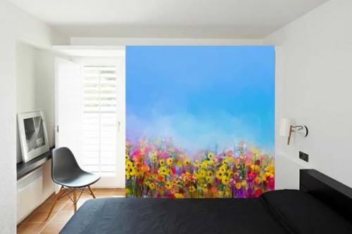 papier-peint-sur-mesure-fleurs-sauvages-effet-peinture