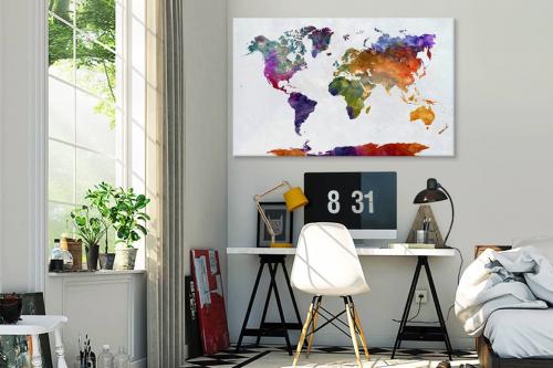 Tableau carte du monde panoramique Encre