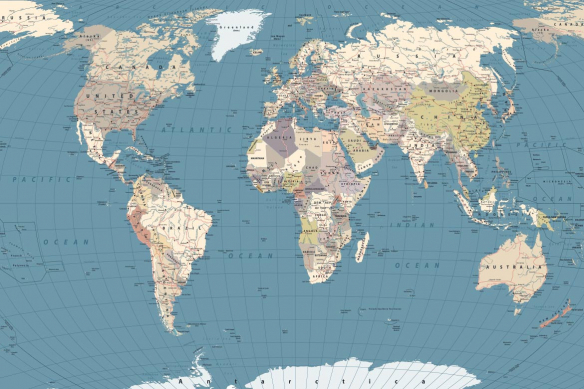 toile planisphère océans