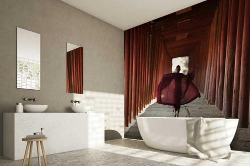 Papier peint salle de bain Ecolier bonze