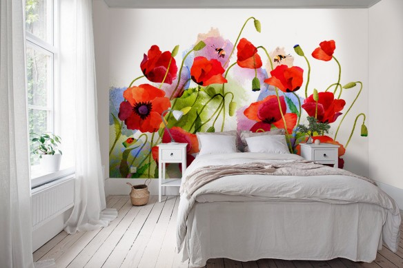 Papier peint fleuri Coquelicots aquarelle
