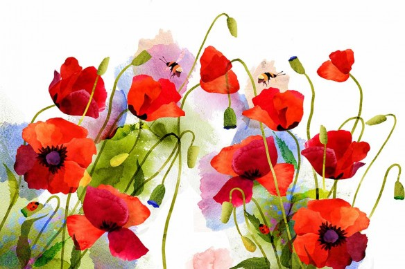 tapisserie-fleurie-coquelicots-aquarelle