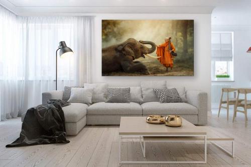 tableau-salon-éléphant-et-bonze