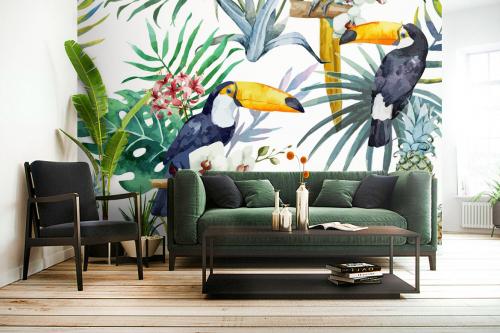 Papier peint tropical Toucans