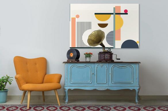 Tableau abstrait multicolore Noon