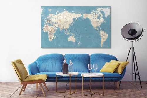 Tableau mural carte du monde inversée