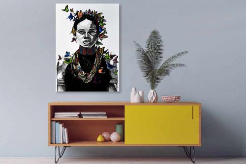Tableau femme africaine papillons