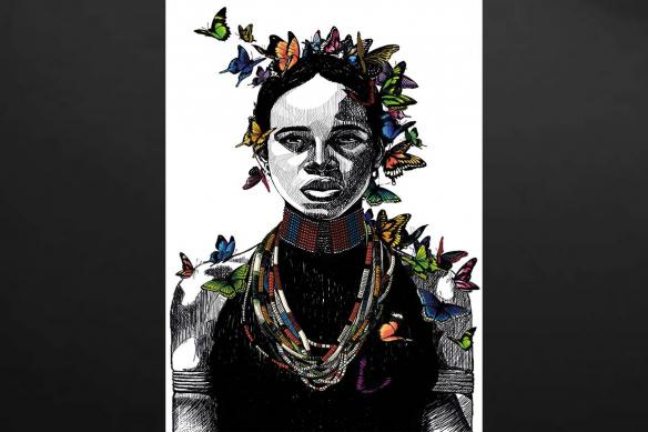 tableau-africain-femme-et-papillons
