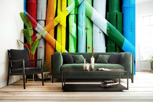 Papier peint salon Mur de bambous multicouleurs