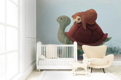 papier-peint-chambre-bébé-tortue-et-paresseux