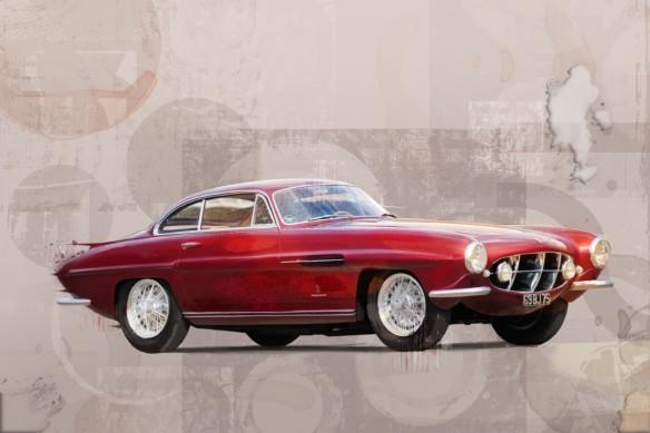 tableau voiture jaguar rouge