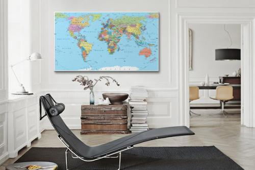 Tableau carte du monde Pays colorés