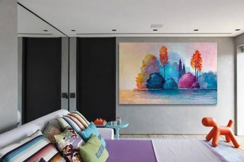Tableau chambre forêt colorée