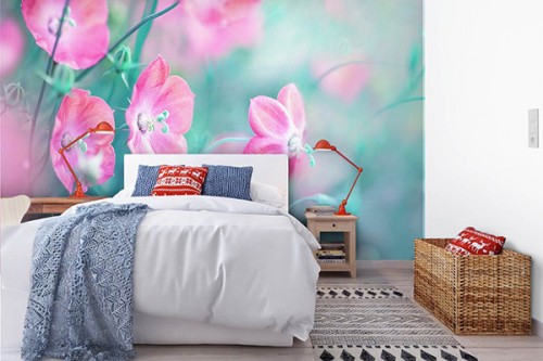 Papier peint fleuri moderne Bleuets