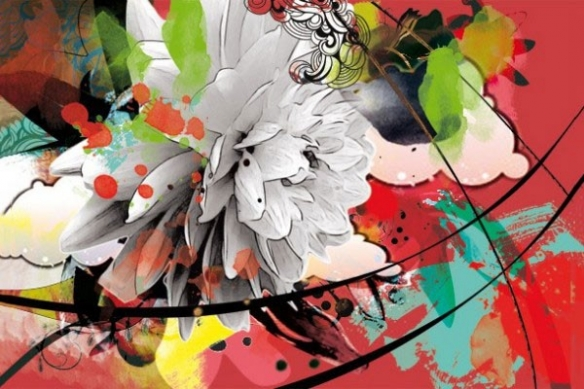 poster design fleur d'été