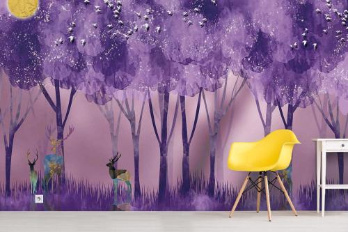 Papier peint panoramique forêt et cerfs