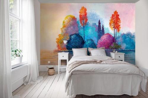 Papier peint panoramique chambre adulte Forêt colorée