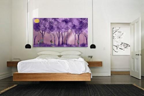 Tableau chambre forêt et cerfs