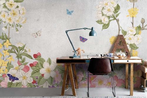 Papier peint fleuri Florescence