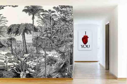 Papier peint jungle noir et blanc Histoire naturelle