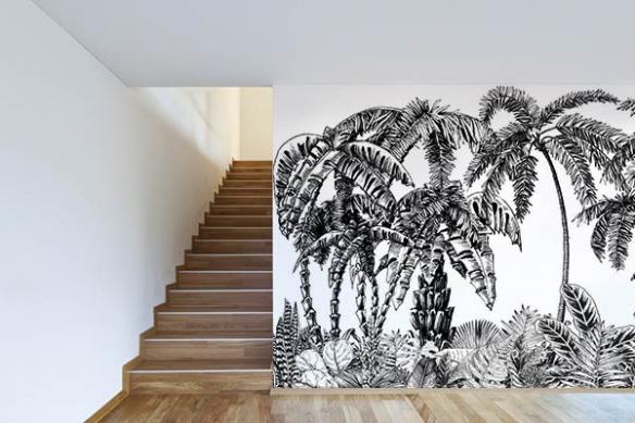 Papier peint jungle noir et blanc Caracasse