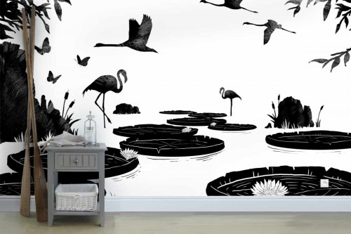 Papier peint noir et blanc Nénuphars et Flamants