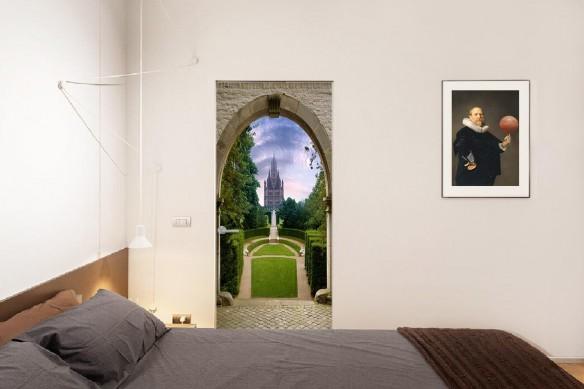 Déco porte trompe l'œil Vue sur le château