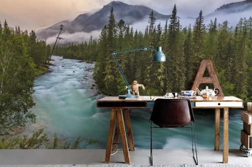 Papier peint panoramique nature Forêt nordique