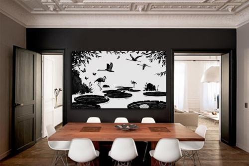 Tableau noir et blanc nénuphars et Flamants