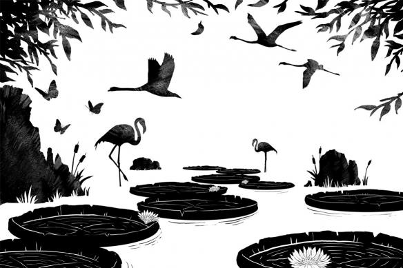 tableau-animaux-noir-et blanc-nénuphares-flamants