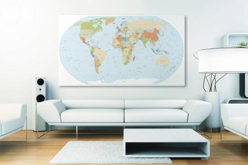 Tableau carte du monde Planisphère Globe Terrestre
