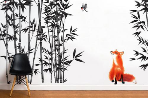 Papier peint nature renard et rouge gorge