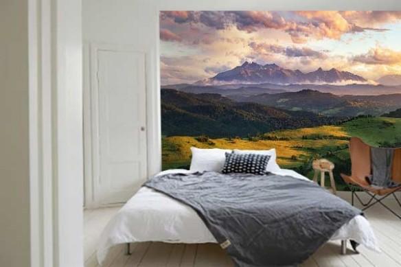 Papier peint panoramique nature vallonnée