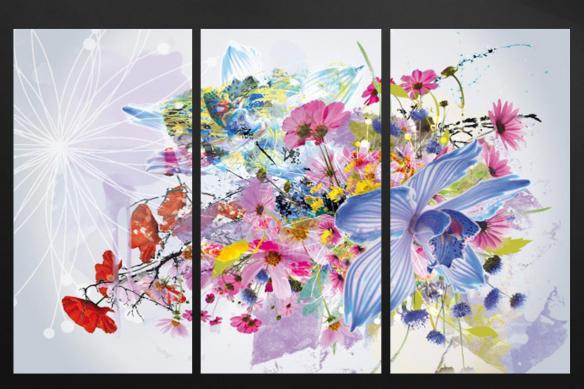 cadre multi panneaux floral