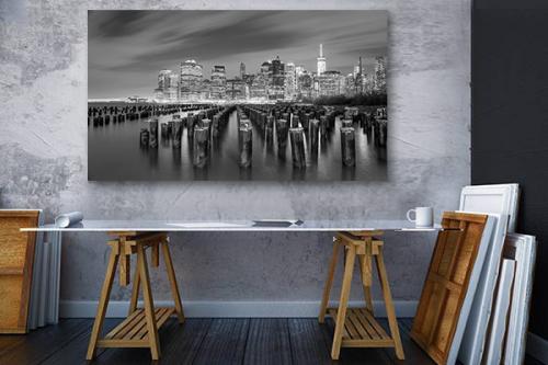 Tableau New York noir et blanc Vue sur Manhattan