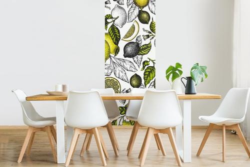 deco-salle-à-manger-frise-papier-peint-citrus