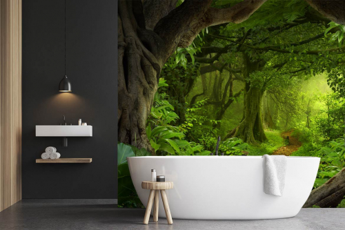 tapisserie jungle salle de bain entre les troncs arbres