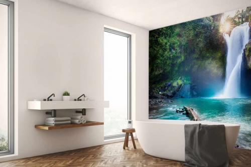 Tapisserie Jungle Cascade bleue