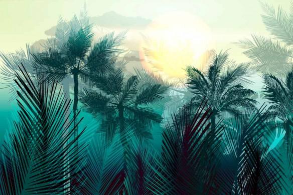 tapisserie jungle cocotiers