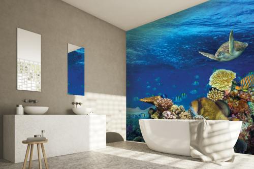 papier-peint-panoramique-océan-et-poissons