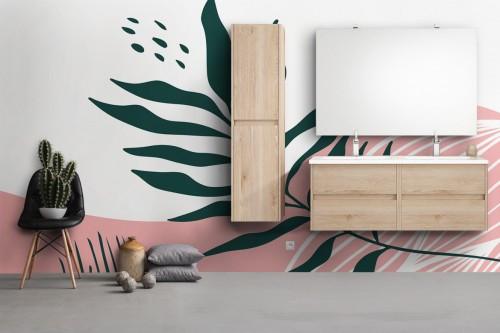 papier-peint-salle de bain vague-et-feuille