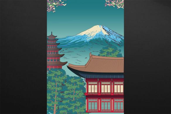toile-illustration-dojo deco japonaise