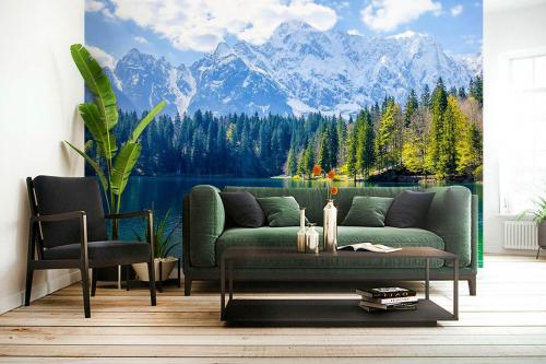 Papier peint panoramique Lac et sapins