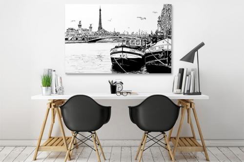 Tableau noir et blanc Paris et ses bateaux
