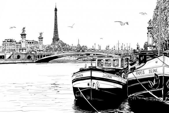 cadre mural noir et blanc paris et bateaux