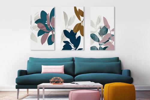 Tableau triptyque Plantes et feuilles